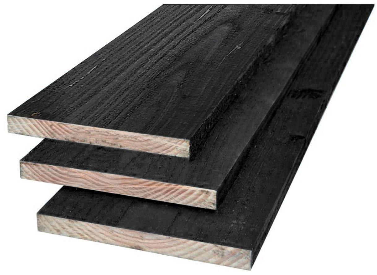3. Planken 22x200x3000 4000 5000mm zwart geïmpregneerd
