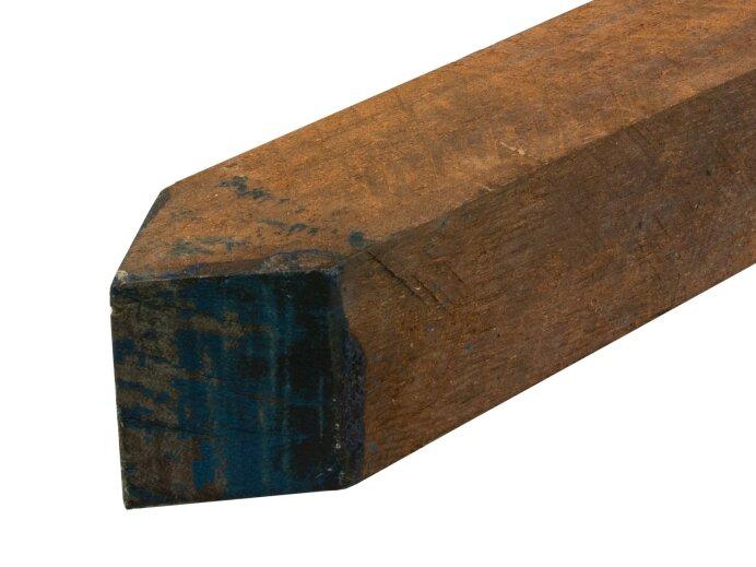 Palen hardhout 50x50 mm bezaagd Houtsoort Azobe close
